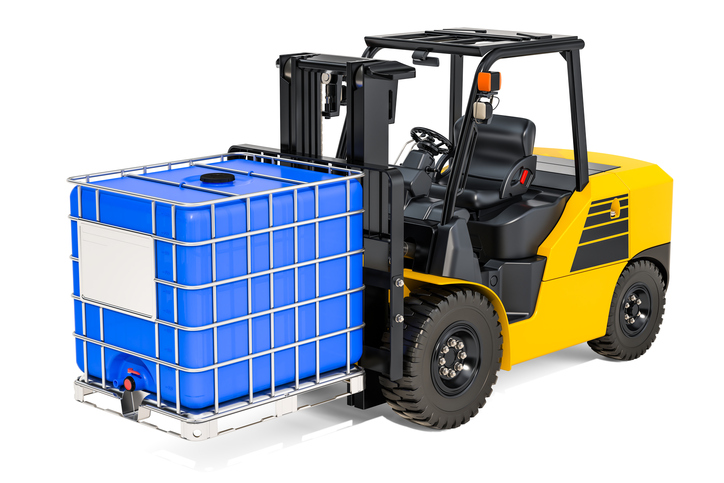 IBC Tote on forklift-Barcode Southwest