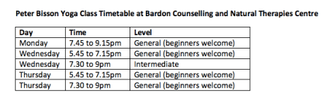 Timetable Bardon Counselling centre