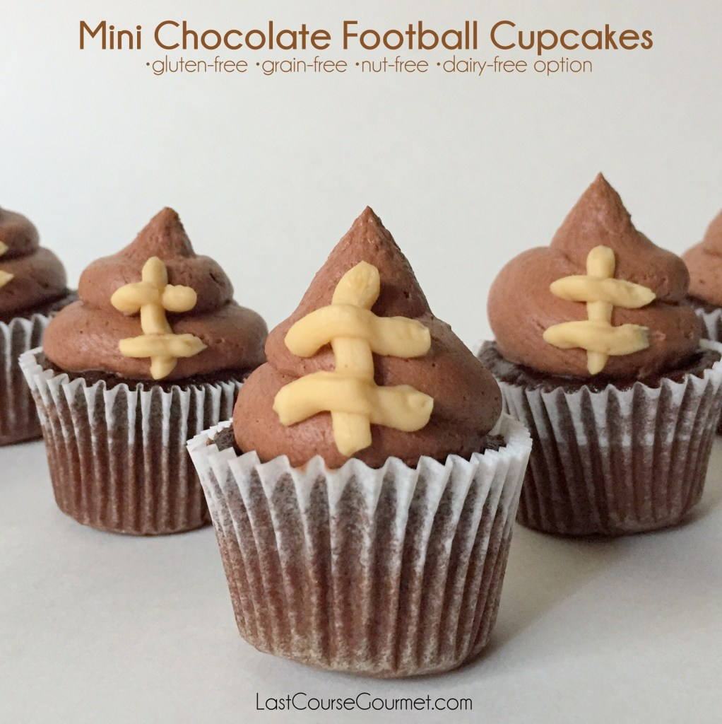 Mini Chocolate Football Cupcakes (GF, NF, DF option)