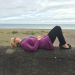 Rox skygazing (and napping) at the shore in County Wicklow, Ireland
