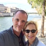 A rare couple selfie, Rox and Shane, walking along the Seine