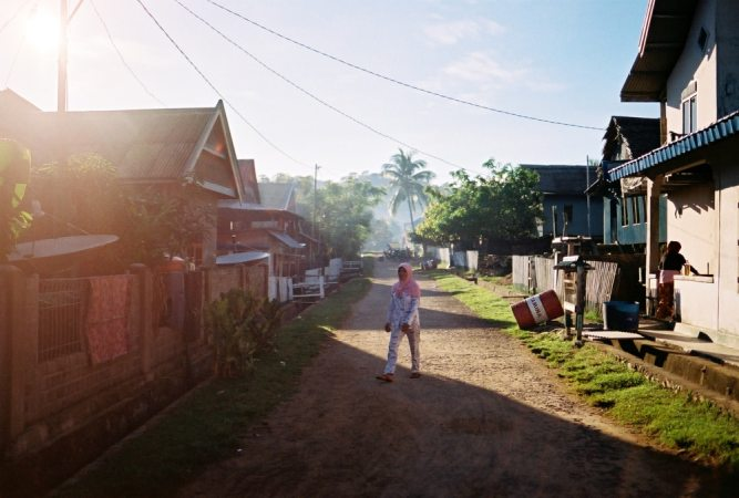 Cruising remote Islands local Indonesian Village