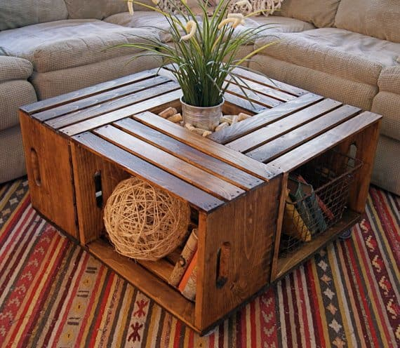 repurpose crates into coffee table