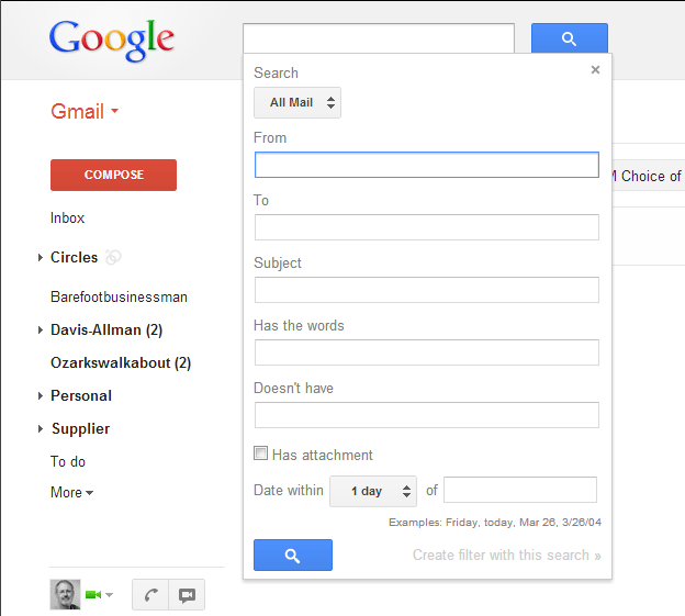 Screen capture showing the options of the Gmail Advanced Search Box