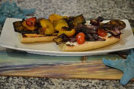 grilled veggie sandwich with goat cheese and hummas_small