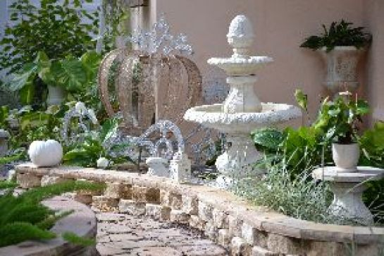 Backyard fountain and pumpkin and carriage_small
