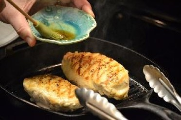 brushing chicken with sesame oil_small