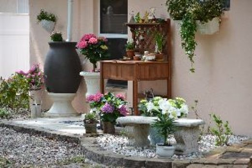 A The AFTER photo for our potting bench landscaping project_small