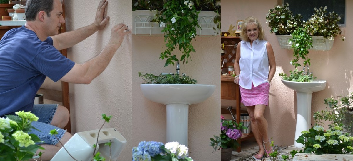 Spring Backyard Fountain Pedestal Sink