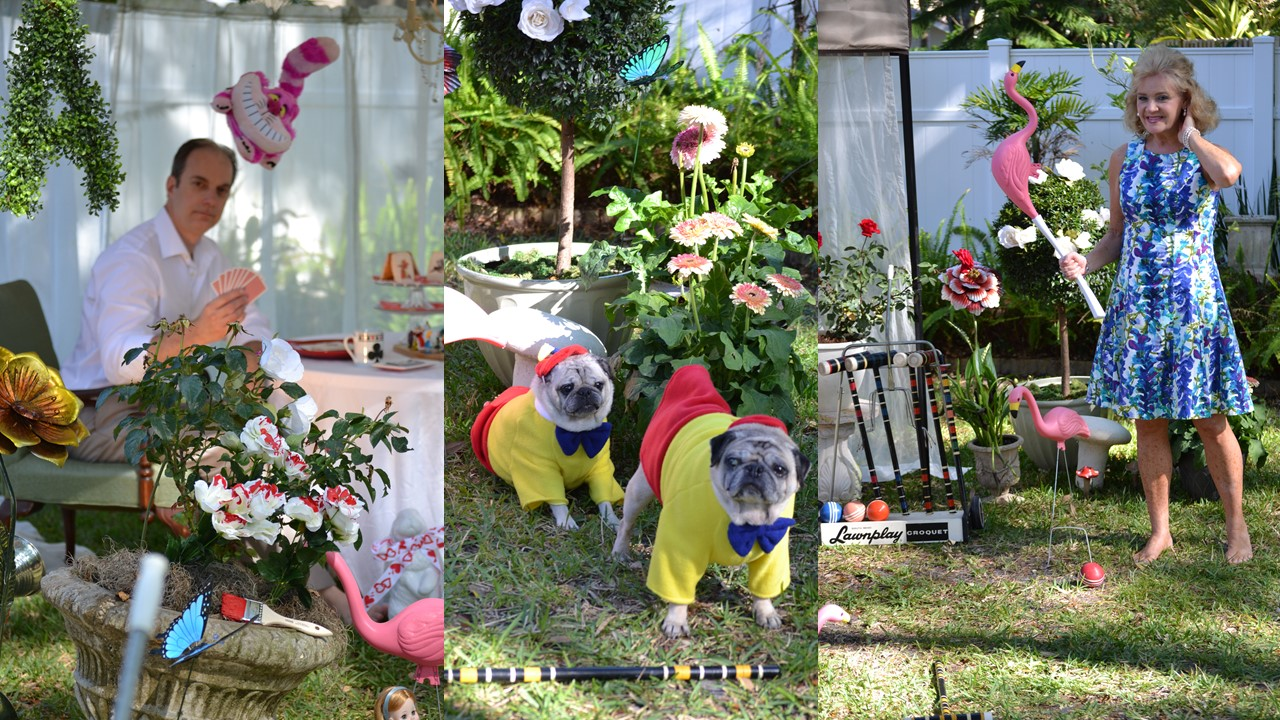 Our Alice in Wonderland Croquet Game with the Tweedles