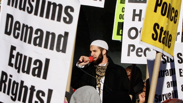Cyrus McGoldrick of CAIR Council on American-Islamic Relations, speak during a rally of Muslims and supporters protesting the NYPD surveillance operations of Muslim communities