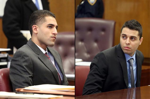 Sherif Rizk (left), aka Sharif Rizk, appears in Manhattan Supreme Court on Tuesday with Hatem Farsakh, both of whom are charged with attempted murder and gang assault in attack on Kevin McCarron.