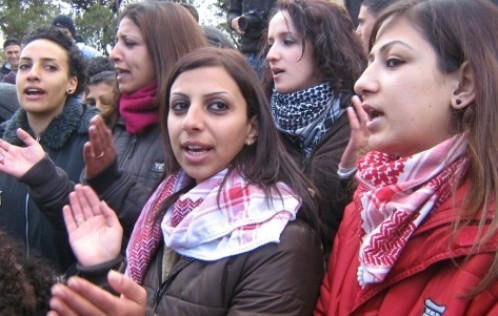 Palestinian female students before