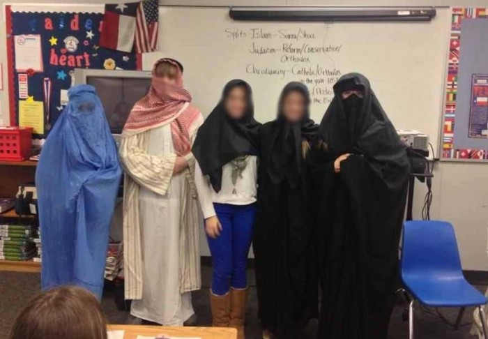 A Texas mom became outraged after she discovered a Facebook photo of her child wearing Islamic garb.