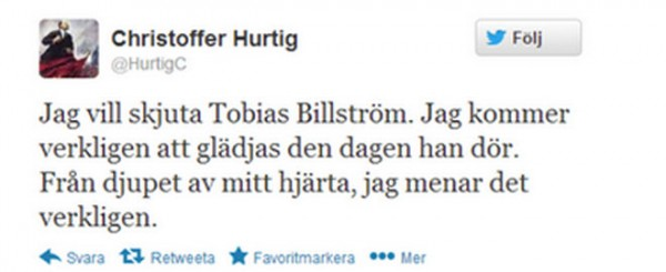 Death threats sweden twitter