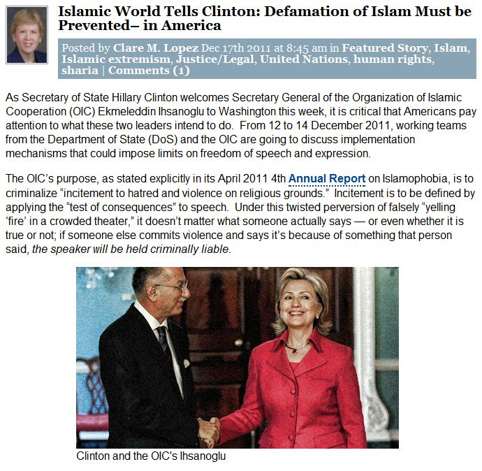 clare-lopez-oic-clinton-free-speech-17.12.2011