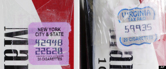 Two packs of Marlboro cigarettes, the one on the left with a New York City and state tax stamp, and on the right a Virginia tax stamp, are displayed for a photo, in New York. New York City's war on smoking is being undercut by light penalties for merchants caught selling cheap cigarettes smuggled in from low-tax states.