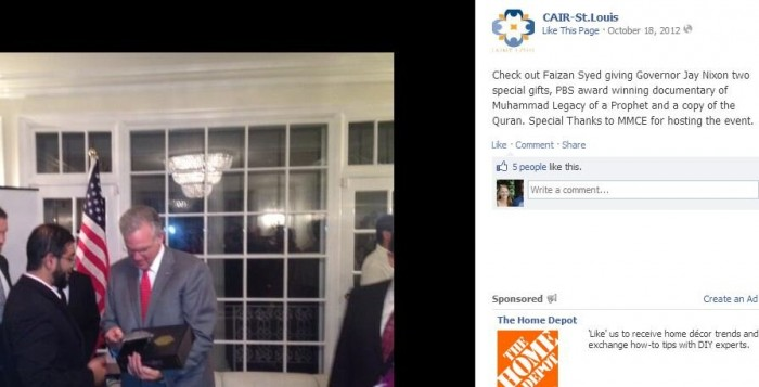 JAY NIXON being honored by terrorist front group CAIR