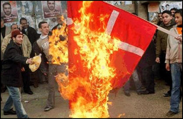 muslims-burn-denmark-flag
