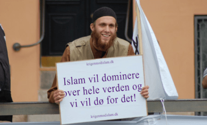 "Signs with the same wording seen at similar demonstrations in Great Britain: ""Islam will dominate the whole world and we will die for it to happen"""