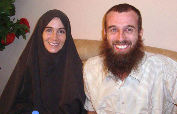 Amanda Lindhout and Nigel Brennan in Mogadishu after being released from captivity