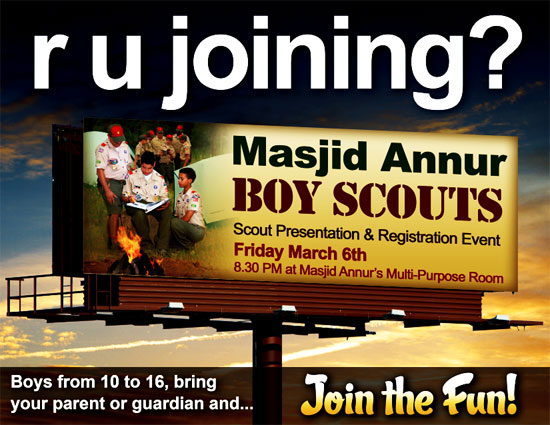 Masjid (Mosque) Annur Boy Scouts. Infidels need not apply