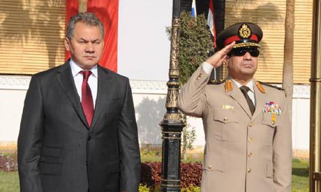 Russian defence minister Sergei Shoygu and General Sisi