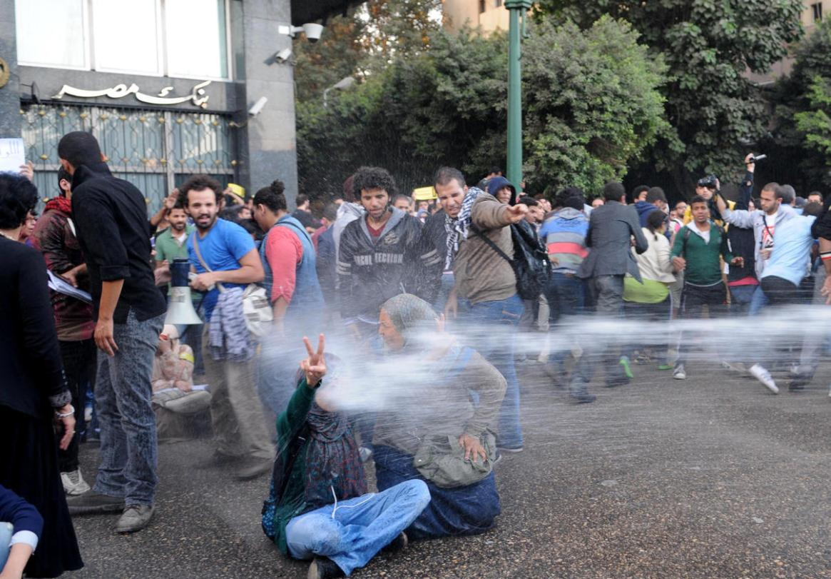 Water cannons disperse the pro-Morsi protesters