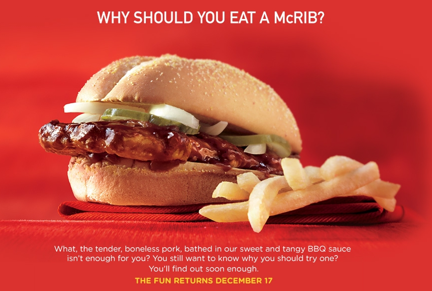 Eat a McRib and feel secure that no Muslim hands have touched it