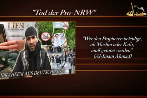 """Ibrahim says, """"The German media have again collaborated in the crimes. Under the cover of neutral reporting they have again published the Mohammed cartoons. This, too, will not be tolerated by the followers of Mohammed!"""" """"Der 'Spiegel', which is controlled by Jews, and other well-known German media outlets have thus insulted our prophet. Lie in wait for their employees, kill them and give them a lesson they will never forget."""""""