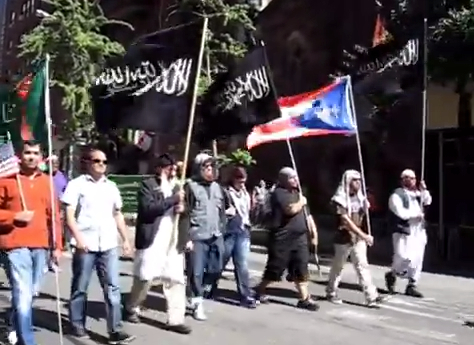 Black Flags of Jihad marching down Madison Avenue in NYC