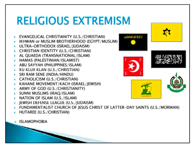 What the U.S. Army has designated as religious extremist groups with whom soldiers have been warned not to associate themselves