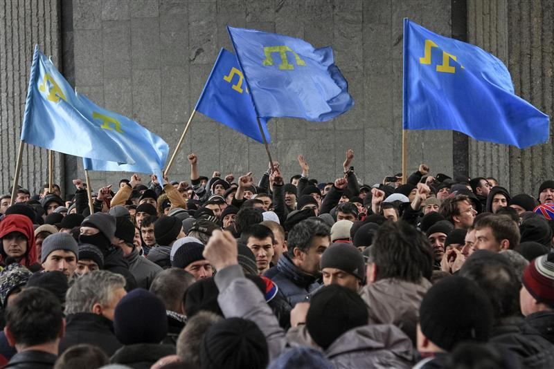 Crimean Tartar Muslims with their own flag