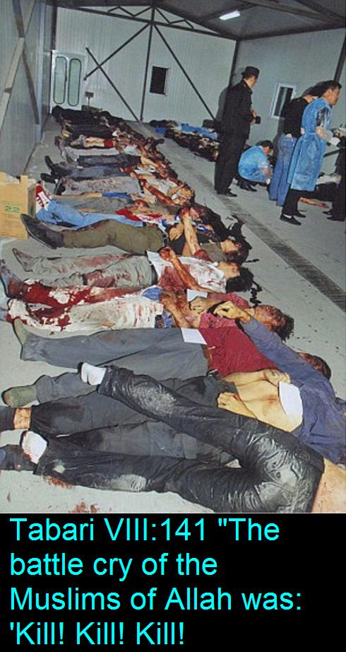 Dead bodies of Chinese citizens after mass knife attacks by Uighur Muslims