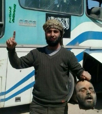 "Beheaded ""Shia soldier"" in Daraa province. The terrorists call all of their enemies Shia, what shows how sectarian they act. The criminals who beheaded him are from Jabhat al-Nusra"
