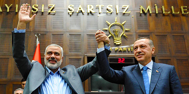 Hamas leader Haniyeh with Erdogan. Egypt barred Turkish Prime Minister from entering Gaza because of his support for the Muslim Brotherhood