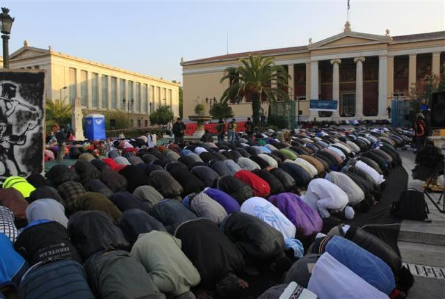 Muslim supremacist litter the streets of Athens whenever they want to pray