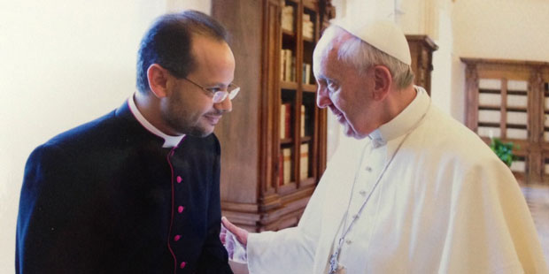 Father Yoannis Lahzi Gaido and Pope Francis