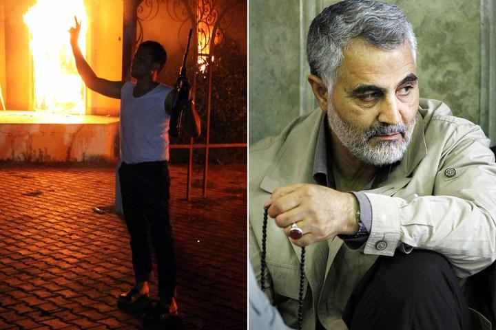 """Según el libro """"Fuerzas Oscuras"""", el General de División Qasem Soleimani, derecha, fue la figura poderosa detrás del ataque de 2012 en el Consulado de EE.UU. en Benghazi"""