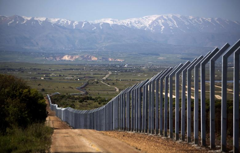 The newly built Israeli border with Syria is seen on the Israeli side of the annexed Golan Heights
