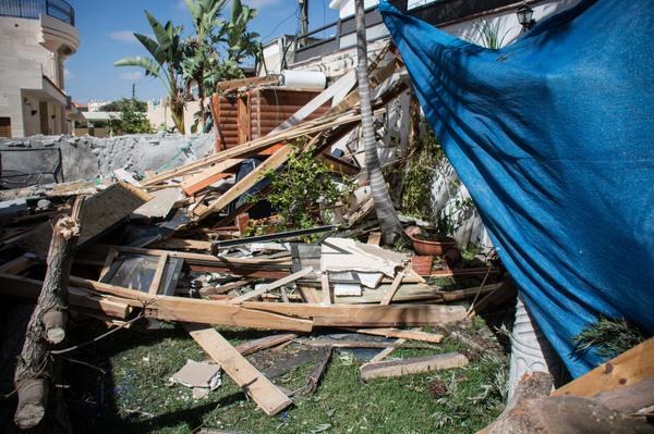 Hamas fired a rocket from Gaza today and severely damaged this house in Ashkelon