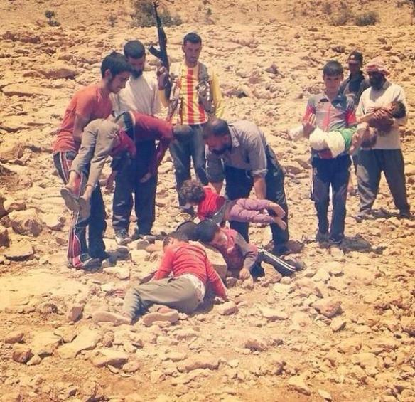 Ezidi Kurdish children are dying of thirst and hunger on Sinjar mountains.