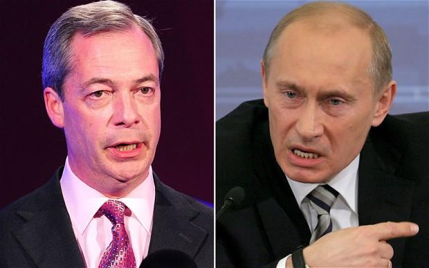 Nigel Farage UKIP and Vladimir Putin