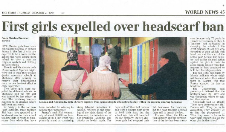 first girls expelled over head scarf