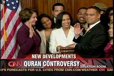 Keith Ellison insisted on being sworn into Congress on a quran which trashes everything in our Constitution