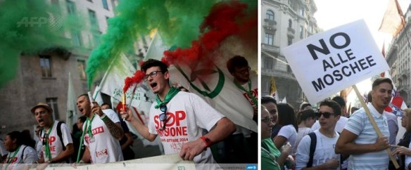 "some 40,000 supporters of the right-wing Lega Nord party took to the streets of Milan to protest against immigration, under the slogan ""Stop invasion""."