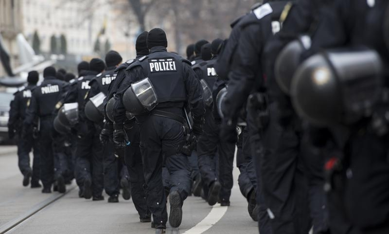 Police officers walk near the the hotel 'Bayerischer Hof' during the annual Munich Security Conference