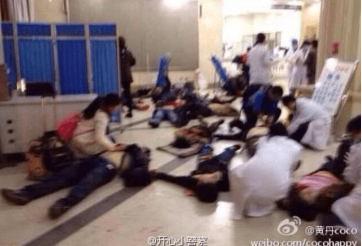 Doctors attend to victims of  Muslim jihadist terror attack in China