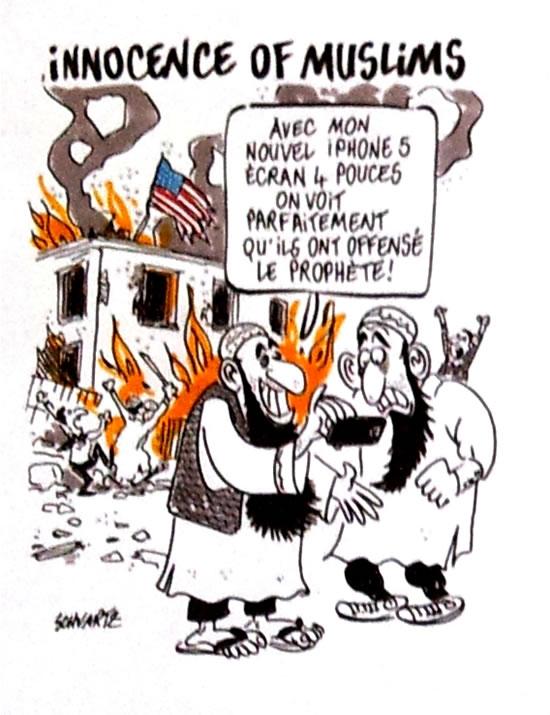 """TITULO: La inocencia de los musulmanes.  """"Con mi nuevo iPhone, NOSOTROS PODEMOS VER CLARAMENTE que han ofendido al profeta""""."""