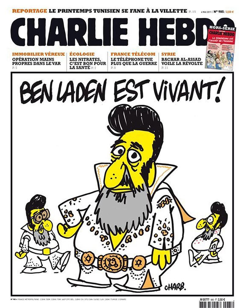 'Bin Laden is alive!' and features Osama Bin Laden dressed as Elvis.